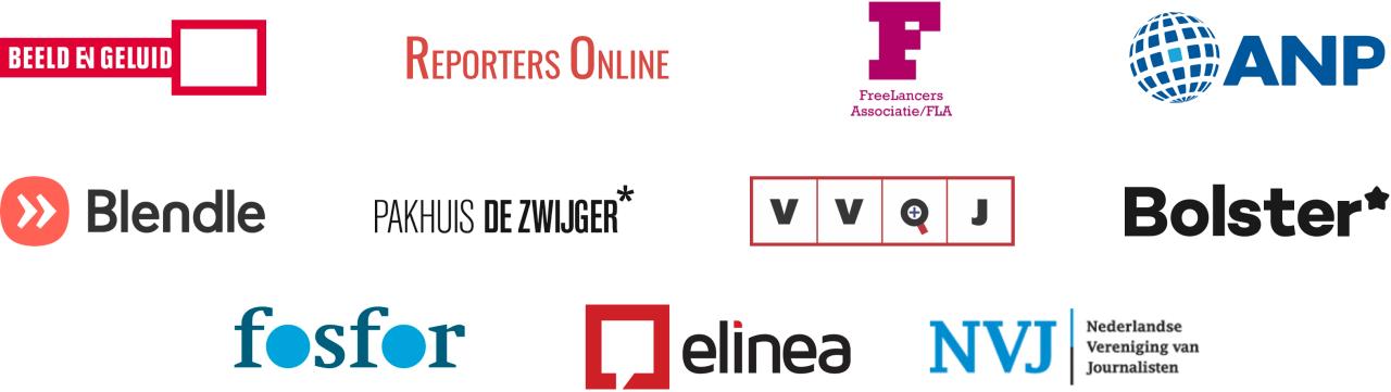 Beeld en geluid, Reporters Online, FreeLancers Associatie, ANP, Blendle, Pakhuis de Zwijger, VVQJ, Bolster, fosfor, elinea, Nederlandse Vereniging van Journalisten